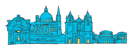 Valletta, Malta, Colored Panorama, Filled with Blue Shape and Yellow Highlights. Scalable Urban Cityscape Vector Illustration