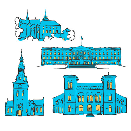 Oslo, Norway, Colored Landmarks, Scalable Vector Monuments. Filled with Blue Shape and Yellow Highlights. Illustration