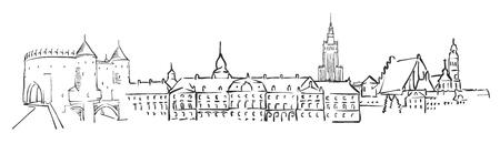 Warsaw, Poland, Panorama Sketch, Monochrome Urban Cityscape Vector Artprint