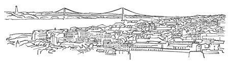 Lisbon, Portugal, Panorama Sketch, Monochrome Urban Cityscape Vector Artprint