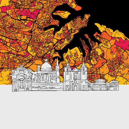 Valletta, Malta, Skyline Map, Modern Colourful Art Print with Historic Cityscape Landmarks