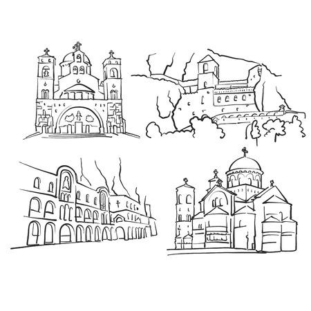 Podgorica, Montenegro, Famous Buildings, Monochrome Outlined Travel Landmarks, Scalable Vector Illustration Çizim