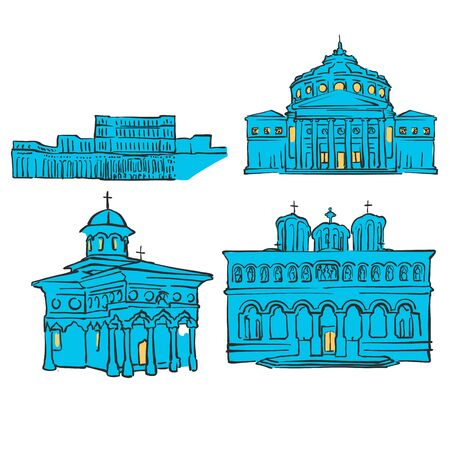 Bucharest, Romania, Colored Landmarks, Scalable Vector Monuments. Filled with Blue Shape and Yellow Highlights. Illustration