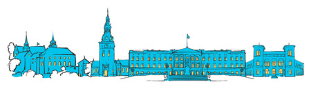 filled: Oslo, Norway, Colored Panorama, Filled with Blue Shape and Yellow Highlights. Scalable Urban Cityscape Vector Illustration