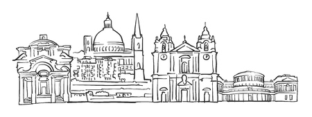 malta cities: Valletta, Malta, Panorama Sketch, Monochrome Urban Cityscape Vector Artprint