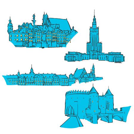Warschau, Polen, gekleurde monumenten, schaalbare vectormonumenten. Gevuld met blauwe vorm en gele highlights.