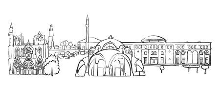 Skopje, Macedonia, Panorama Sketch, Monochrome Urban Cityscape Vector Artprint