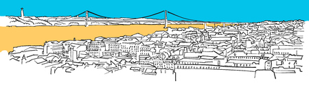 Lisbon, Portugal, Colored Panorama, Filled with Blue Shape and Yellow Highlights. Scalable Urban Cityscape Vector Illustration