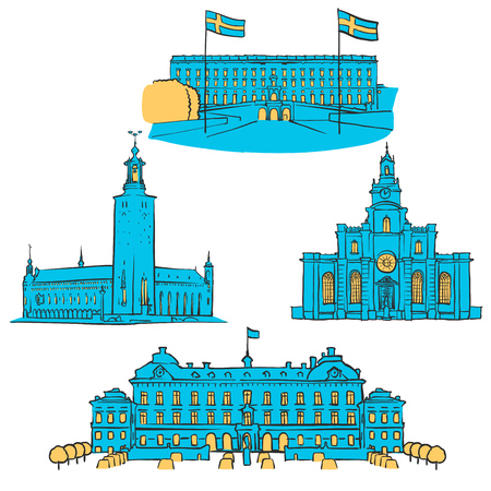 Stockholm Colored Landmarks, Scalable Vector Monuments. Filled with Blue Shape and Yellow Highlights.