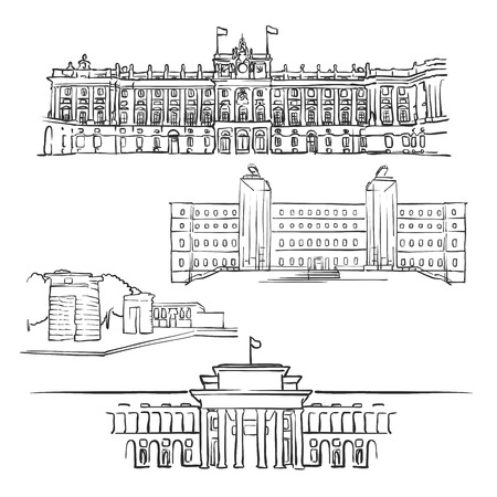 Madrid, Spain, Famous Buildings, Monochrome Outlined Travel Landmarks, Scalable Vector Illustration