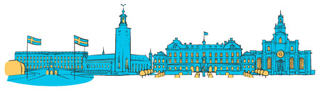 Stockholm Colored Panorama, Filled with Blue Shape and Yellow Highlights. Scalable Urban Cityscape Vector Illustration Illustration