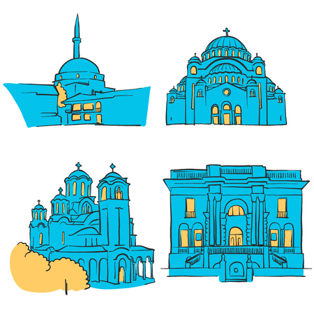 Belgrade, Serbia, Colored Landmarks, Scalable Vector Monuments. Filled with Blue Shape and Yellow Highlights. Illustration