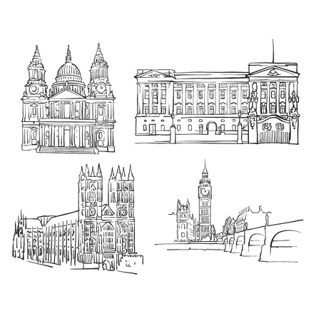 ロンドンの有名な建物、モノクロの輪郭を描かれた旅行のランドマーク、スケーラブル ベクター イラスト