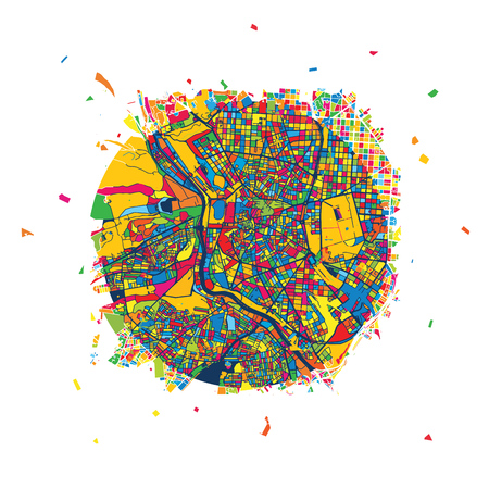 マドリード創造的なベクトル地図、都市の旅行のランドマーク。インフォ グラフィックのデザイン テンプレート