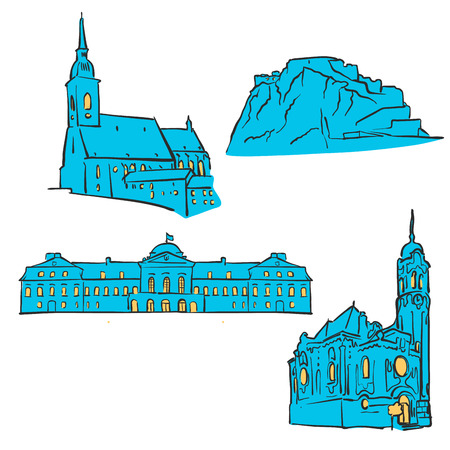Bratislava, Slovakia, Colored Landmarks, Scalable Vector Monuments. Filled with Blue Shape and Yellow Highlights.