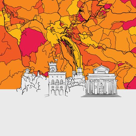 San Marino Skyline Map, Modern Colourful Art Print with Historic Cityscape Landmarks Illustration