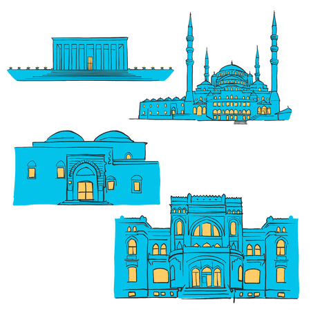 Ankara, Turkey, Colored Landmarks, Scalable Vector Monuments. Filled with Blue Shape and Yellow Highlights. Illustration