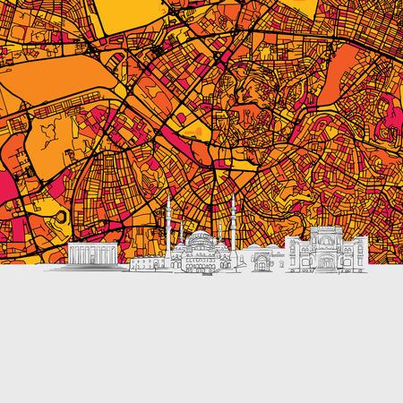 Ankara Skyline Map, Modern Colourful Art Print with Historic Cityscape Landmarks