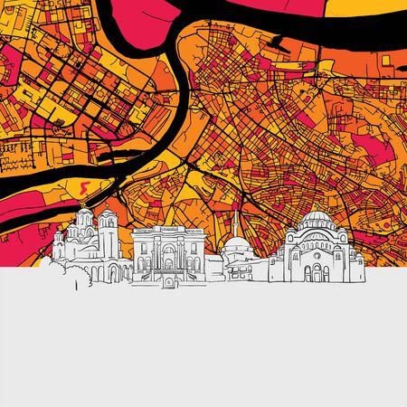 Belgrade Skyline Map, Modern Colourful Art Print with Historic Cityscape Landmarks Illustration