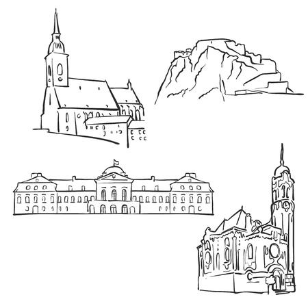 Bratislava, Slovakia, Famous Buildings, Monochrome Outlined Travel Landmarks, Scalable Vector Illustration Illustration