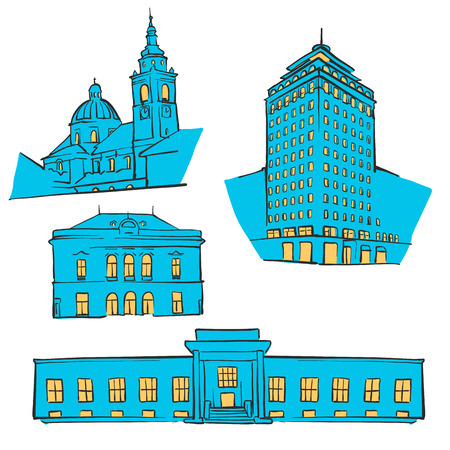 Ljubljana Colored Landmarks, Scalable Vector Monuments. Filled with Blue Shape and Yellow Highlights.