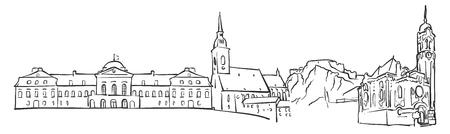 Bratislava, Slovakia, Panorama Sketch, Monochrome Urban Cityscape Vector Artprint Illustration