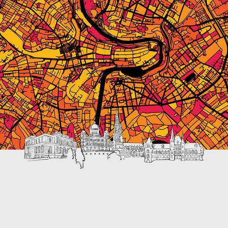 Bern Skyline Map, Modern Colourful Art Print with Historic Cityscape Landmarks