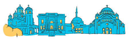 Belgrade, Serbia, Colored Panorama, Filled with Blue Shape and Yellow Highlights. Scalable Urban Cityscape Vector Illustration Illustration