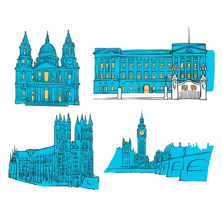 London Colored Landmarks, Scalable Vector Monuments. Filled with Blue Shape and Yellow Highlights.