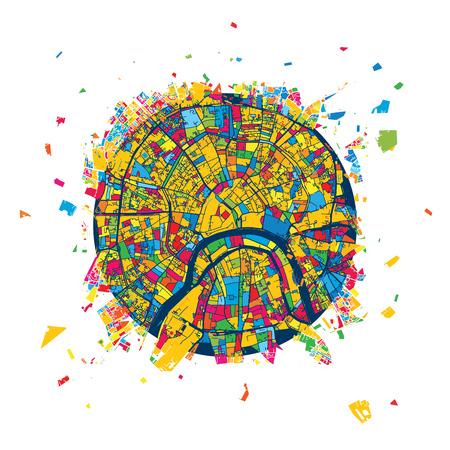 Moscow, Russia, Creative Vector Map, Urban Travel Landmark. Infographic Design Template
