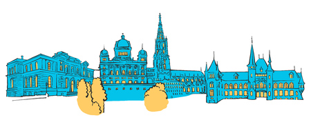 Bern Colored Panorama, Filled with Blue Shape and Yellow Highlights. Scalable Urban Cityscape Vector Illustration