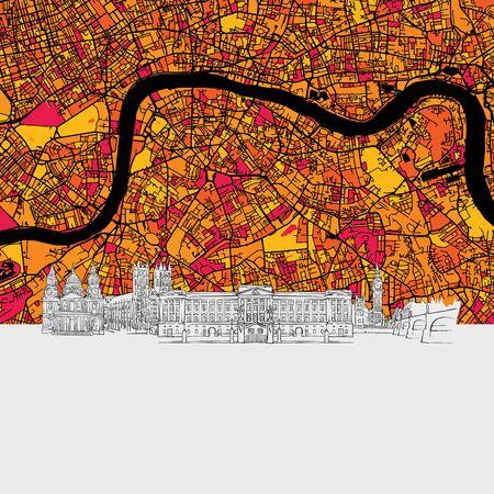 London Skyline Map, Modern Colourful Art Print with Historic Cityscape Landmarks Illustration