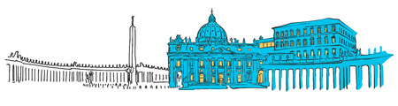 Vatican Colored Panorama, Filled with Blue Shape and Yellow Highlights. Scalable Urban Cityscape Vector Illustration Illustration