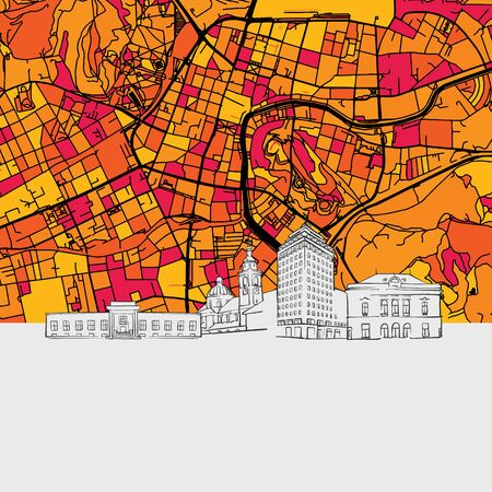 Ljubljana Skyline Map, Modern Colourful Art Print with Historic Cityscape Landmarks