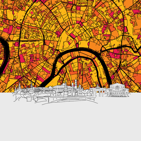 Moscow, Skyline Map, Modern Colourful Art Print with Historic Cityscape Landmarks