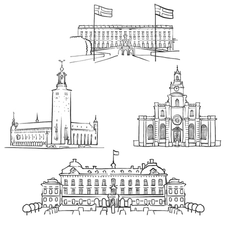 Stockholm Famous Buildings, Monochrome Outlined Travel Landmarks, Scalable Vector Illustration Illustration