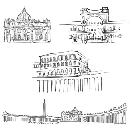 Vatican Famous Buildings, Monochrome Outlined Travel Landmarks, Scalable Vector Illustration