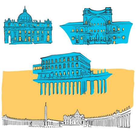 Vatican Colored Landmarks, Scalable Vector Monuments. Filled with Blue Shape and Yellow Highlights.