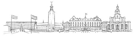 Stockholm, Sweden, Panorama Sketch, Monochrome Urban Cityscape Vector Artprint