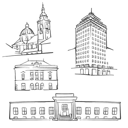 Ljubljana Famous Buildings, Monochrome Outlined Travel Landmarks, Scalable Vector Illustration