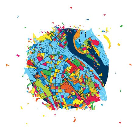 Kyiv, Ukraine, Creative Vector Map, Urban Travel Landmark. Infographic Design Template Illustration