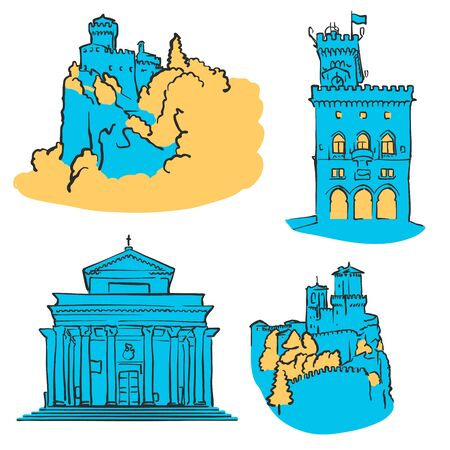 overlook: San Marino Colored Landmarks, Scalable Vector Monuments. Filled with Blue Shape and Yellow Highlights.