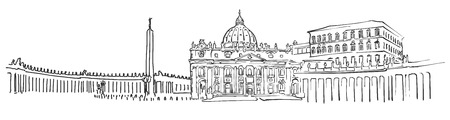 Vatican City Panorama Sketch, Monochrome Urban Cityscape Vector Artprint Illustration
