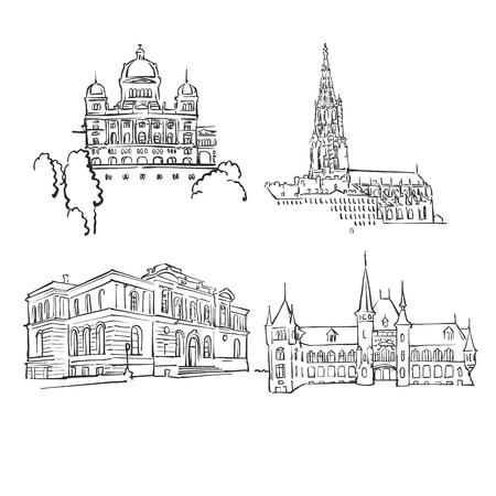 Bern Famous Buildings, Monochrome Outlined Travel Landmarks, Scalable Vector Illustration