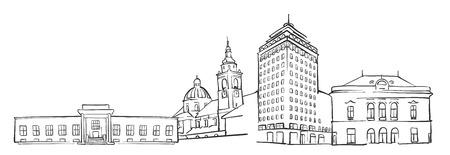 Ljubljana Panorama Sketch, Monochrome Urban Cityscape Vector Artprint