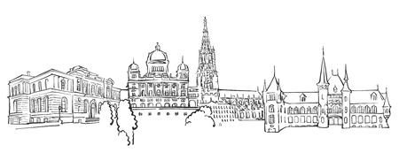 Bern Panorama Sketch, Monochrome Urban Cityscape Vector Artprint