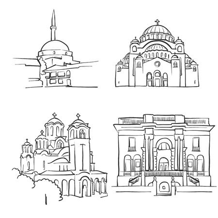 Belgrade, Serbia, Famous Buildings, Monochrome Outlined Travel Landmarks, Scalable Vector Illustration