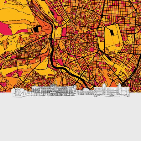 Madrid, Spain, Skyline Map, Modern Colourful Art Print with Historic Cityscape Landmarks 일러스트