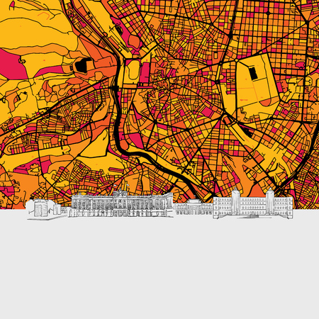 Madrid, Spain, Skyline Map, Modern Colourful Art Print with Historic Cityscape Landmarks Illustration