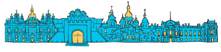 Kyiv, Ukraine, Colored Panorama, Filled with Blue Shape and Yellow Highlights. Scalable Urban Cityscape Vector Illustration